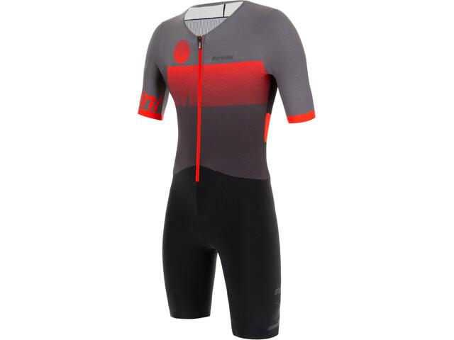 Santini Audax Aero Kombinezon triathlonowy z krótkim rękawem Mężczyźni, red